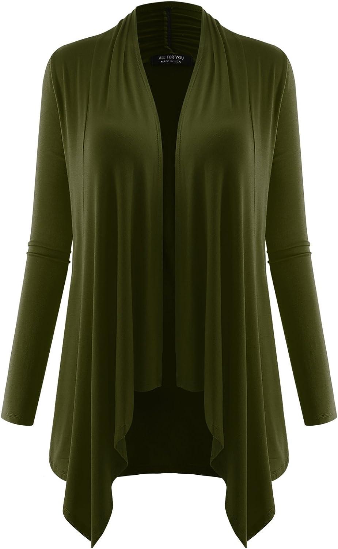 AMORE ALLFY Women's Long Sleeve Flowy Open Cardigan Dark Olive X-Large