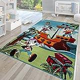 TT Home Alfombra Infantil Pelo Corto Moderna Multicolor Motivo Turquesa Barco Pirata, Größe:120x170 cm