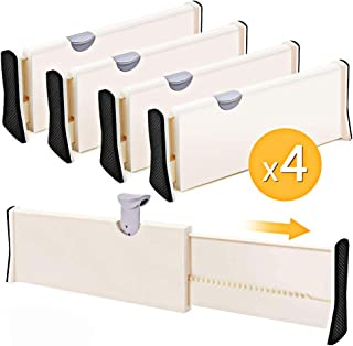 4-Pack Adjustable Drawer Dividers Organizer Separators - Good Grips Dresser Organizer - for Bedroom, Bathroom, Closet, Baby Drawer, Desk, Kitchen Storage