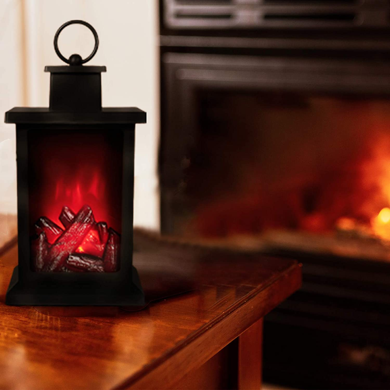 Home Decoration /& Centrepiece for Halloween /& Christmas Wall Hanging Battery Operated Flame Effect Lighting SA Products Electric Fireplace Lantern Medium Black Colour Artificial LED Fire Lamp