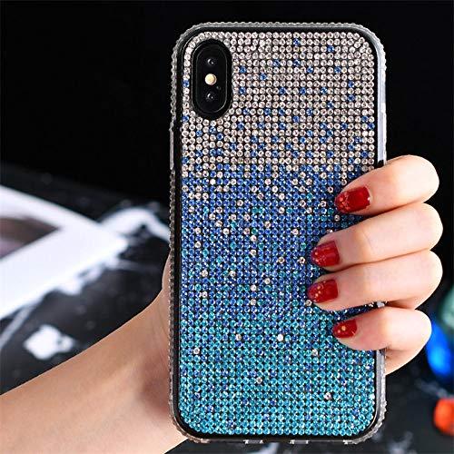 Estuche de lujo de color degradado de diamantes de imitación de cristal brillante para iPhone 11 12 Mini Pro X XS Max XR 8 7 6 6s Plus Funda de diamante de silicona, azul degradado, para iPhone 11