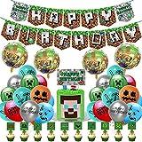 Decoraciones de Cumpleaños para Juegos para Niños Látex Globos de Píxeles Videojuegos Pancarta de Cumpleaños Adornos para Tartas para Niños y Hombres