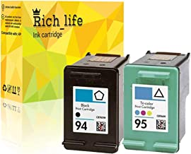 Rich_life Remanufactured Ink Cartridge Replacement for HP 94 C8765WN HP 95 C8766WN for HP Printer Deskjet Officejet Photosmart PSC SERIES 2 Pack (1 Black, 1 Tri-Color)