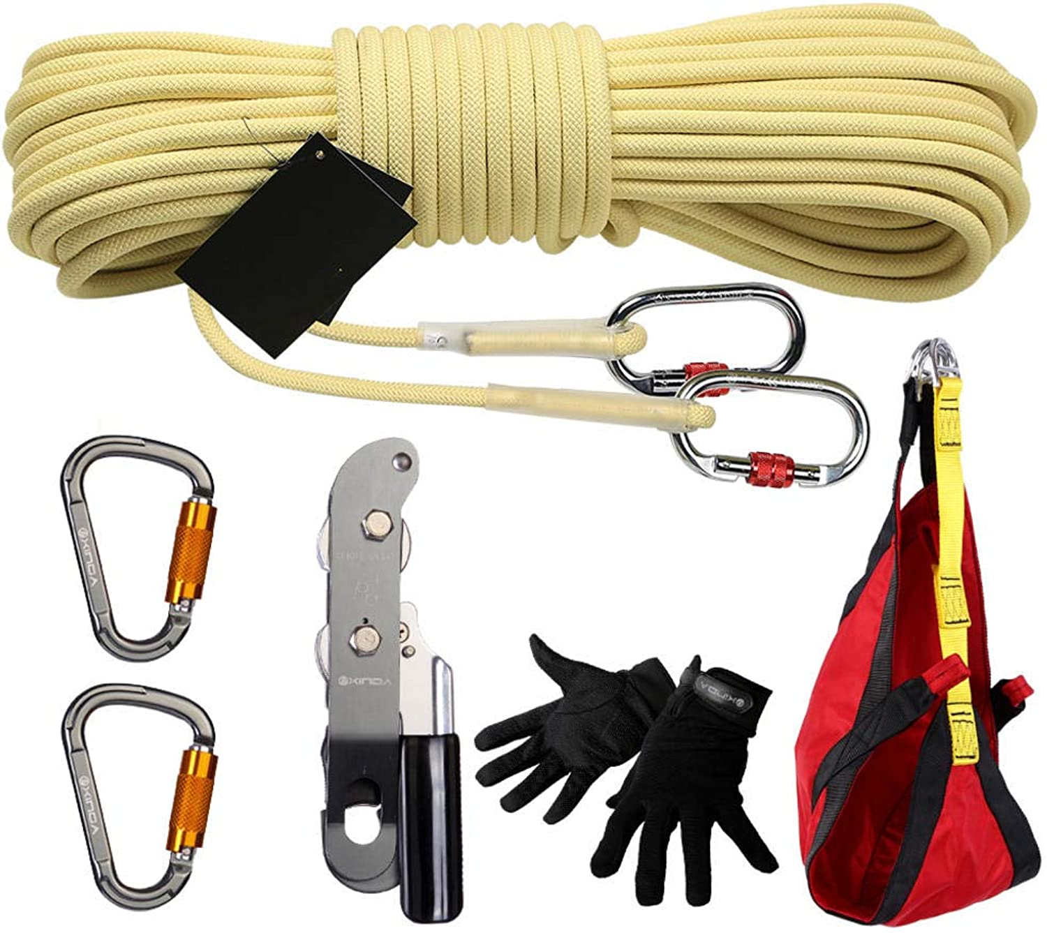 Climbing Kit Rescue Fire Earthquake Emergency Rescue Kit LifeSaving Safety Rope HighLevel Descending Device 7 Pieces