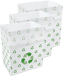 (Recycle Pattern) - Clean Cubes Disposable Trash Cans and Recycling Bins, 3-Pack