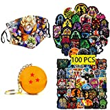 Kilmila Dragon Ball Z Stickers(100pcs with Anime Outdoor Mask and a Star Acrylic Keychains)Cartoon Anime Stickers Anime DBZ Merch Gifts Water Bottle Laptop Skateboard Luggage Guitar for Teens