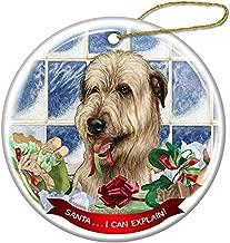 Cheyan Wheaten Irish Wolfhound Dog Porcelain Hanging Ornament Pet Gift Santa I Can Explain for Christmas Tree and Year Round