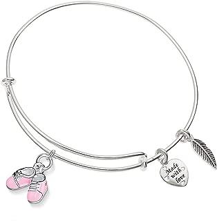 Pink Babygrow Shoes Charm Silver-Tone Expandable Bangle Bracelet