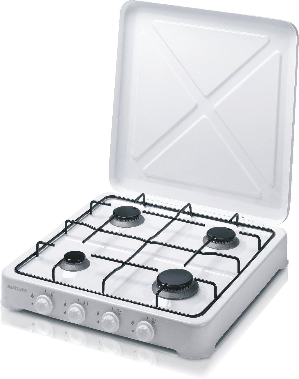 Bastilipo CG-400 Cocina de gas Butano o Propano, 4.15 W, Estructura de Acero con Doble Capa de Esmalte, Blanco