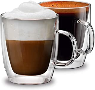 Haulen Homewares, Double Wall Insulated Glass Coffee Mugs, for Latte, Cappuccino, Espresso, Juice, Glassware. Set of 2 cup...