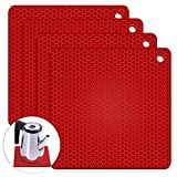 Silicone Pot Trivet Mats | Hot Pot Holders | Drying Mat, Jar Opener | Extra Thick Countertop Mat for Hot Dish | Non-Slip and Heat Resistant | 7.2 x 7.2 x 0.2 inch / Red - Set of 4