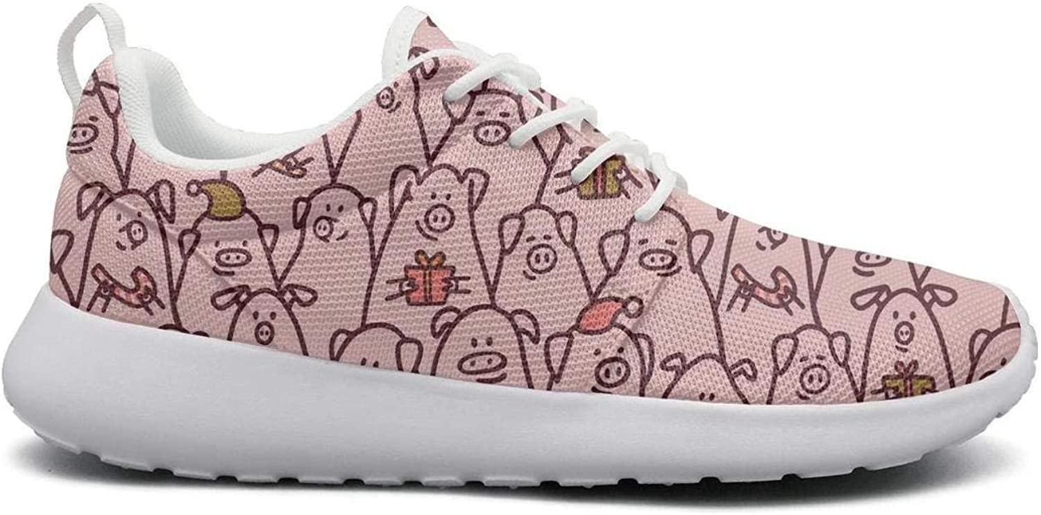 Gjsonmv Pink Funny Pigs with Candy Canes mesh Lightweight shoes for Women Summer Sports Baseball Sneakers shoes