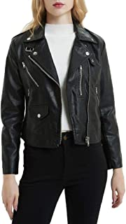 Howely Women's Vintage Zip Up Faux Leather Slim Jackets Short Moto Biker Coat