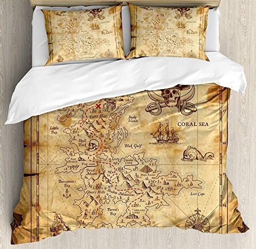 Island Map 3-teiliges Bettwäscheset, Super-detaillierte Schatzkarte Grungy Rustic Pirates Gold Secret Meeresthema, Bettwäscheset Tagesdecke für Kinder / Jugendliche / Erwachsene / Kinder, Beigebrauner