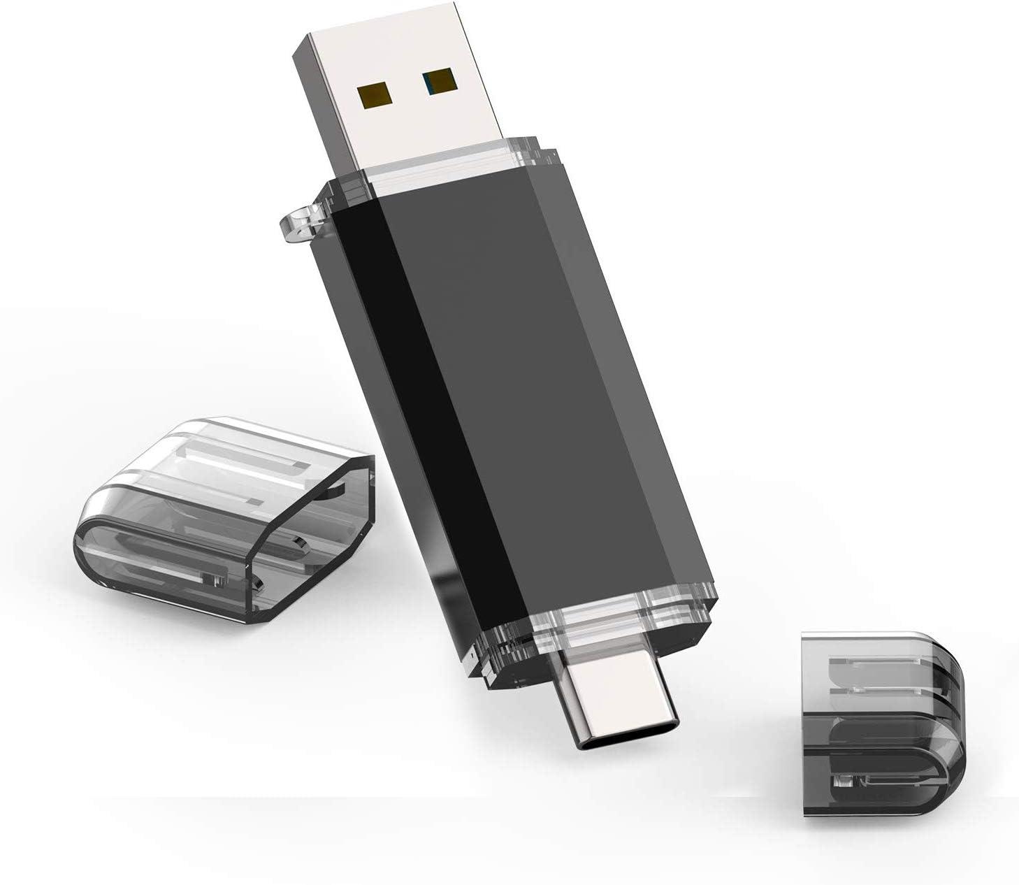 Type C Flash Drive, 64GB 2 in 1 OTG USB C+ USB 3.0 Dual Drive Waterproof Memory Stick with Keychain Metal for Computer, MacBook,Google's Chromebook Pixel,Samsung Galaxy (TYPE-C64GB)