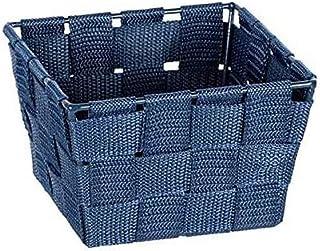 WENKO Panier de rangement Adria Mini square bleu foncé - Panier de salle de bain, carré, tresse en matière plastique, Poly...