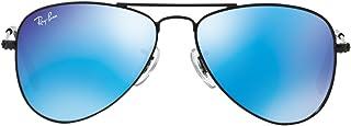Ray-Ban Junior Occhiali Da Sole Aviator In Blu Nero Opaco Specchio Rj9506 201/55 50