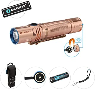 Olight M2R Limited Edition Solid Copper 1500 lumens USB Magnetic Rechargeable Dual Switch LED Tactical Flashlight, HDC 3500mAh Battery Patch