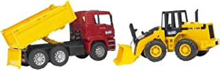 Bruder Man Tga Construction Truck + Articulated Road Loader, Yellow/Red, 2752