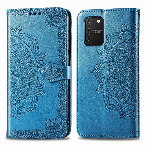 Bear Village Hülle für Galaxy S10 Lite/Galaxy A91, PU Lederhülle Handyhülle für Samsung Galaxy S10 Lite/Galaxy A91, Brieftasche Kratzfestes Magnet Handytasche mit Kartenfach, Blau