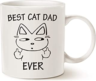 MAUAG Funny Christmas Gifts Cat Dad Coffee Mug for Cat Lovers, Best Cat Dad Ever Best Cute Father's Day Gifts for Dad Cup White, 11 Oz