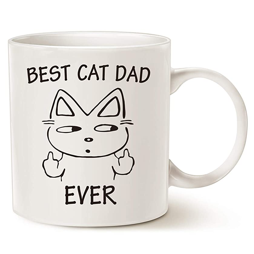 Fathers Day Gifts Funny Christmas Gifts Cat Dad Coffee Mug for Cat Lovers - Best Cat Dad Ever - Best Cute Father's Day Gifts for Dad Cup White, 11 Oz