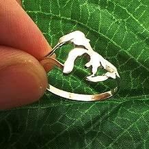 US 6.5 Handmade Silver Michigan Great Lakes Ring