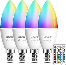 E14 LED kaars gloeilampen, kleurverandering, 40W gloeilamp equivalent, 450 Lumen, RGB + 2700K warm wit, 5Watt, 12 kleuren,...