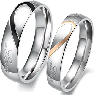 "Lover's Heart Shape Stainless Steel Mens Ladies Promise Ring Engrave""Real Love""Couple Engagement Wedding Bands"