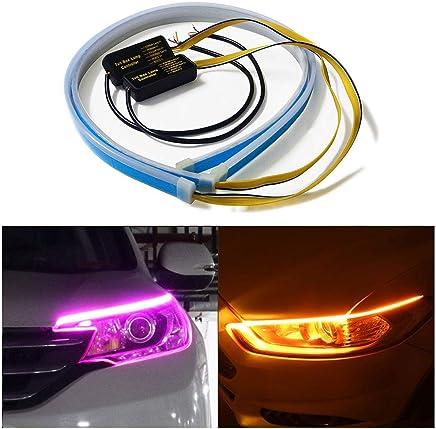 luces de se/ñal luces de circulaci/ón diurna flexibles blancas y amarillas intermitentes. Huayin 2 tiras de luces LED DRL Huayin impermeables para coche