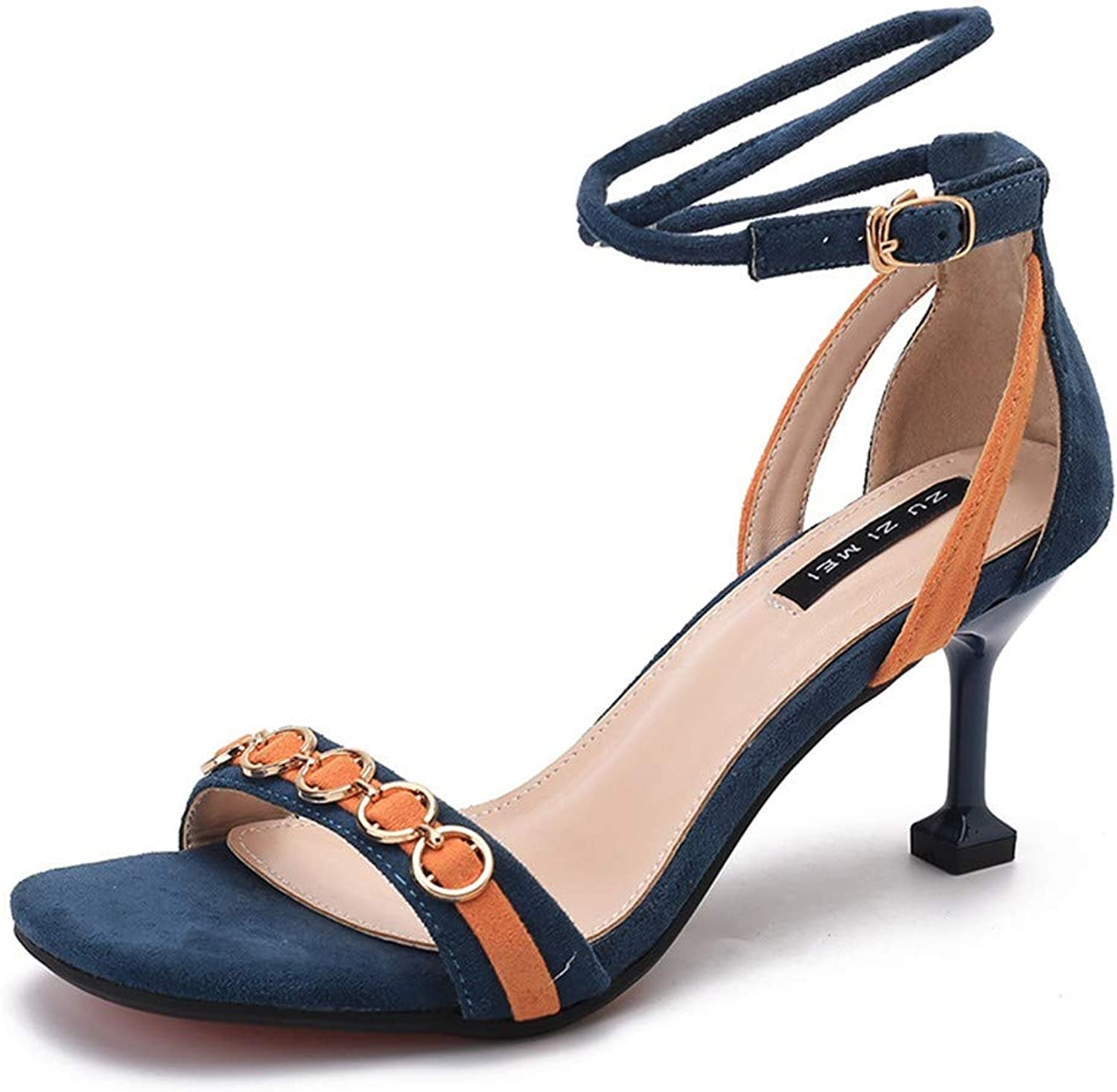 Top Shishang bluee Open Toe cat with Sandals Female Summer New Word Buckle high Heels