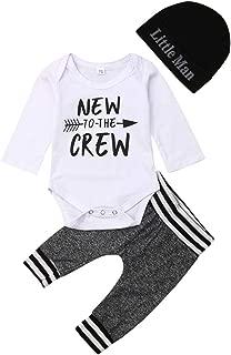 Newborn Baby Boy Clothes to The Crew Letter Print Romper+Long Pants+Hat 3PCS Outfits Set