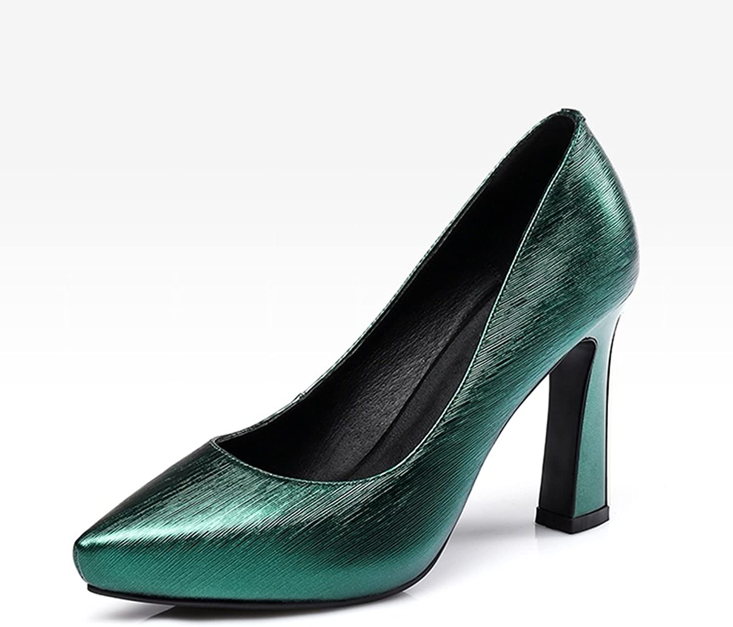 YUBIN Spring Youth High Heels Platform with Thick Leather Shallow Mouth Pointed Single shoes Female Fashion Wild Women's shoes (color   Green, Size   38)
