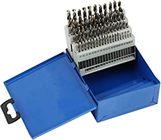 COMOWARE Number Size Drill Bit Set 60pcs- Jobber Length Drill Bits, Wire Gauge 1 to 60, Black and Gold Finish, 118° Split Point, High Speed Steel with Metal Indexed Storage Case