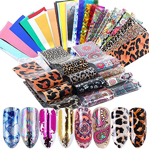 50 Farbe Nail Art Transferfolie Sticker, Mwoot Nail art Folie Transfer Roll Set, Holographische Nail Transfer Aufkleber Nail Wraps Transfer Aufkleber Kit Nagelfolie Transfer