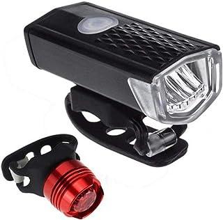 Greneric - Faro LED para bicicleta recargable por USB, fácil de instalar, IPX6, resistente al agua, 10 horas, delantera y ...