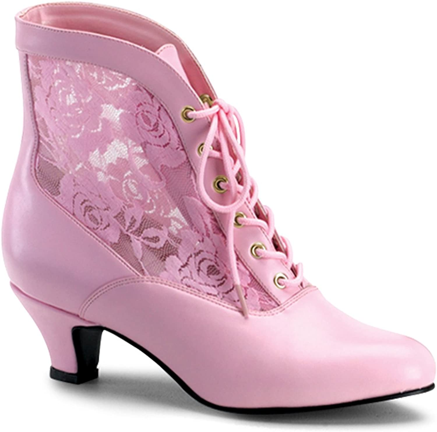 Funtasma By Pleaser Women's Dame-05 Ankle Boot, B. Pink Pu-Lace, Size - 12