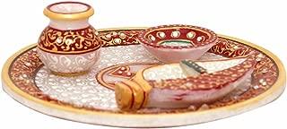 Indian Handicrafts Export Handmade Marble Pooja Thali with Kalash (Marble Matki Diya Chopra Pooja Plate 7