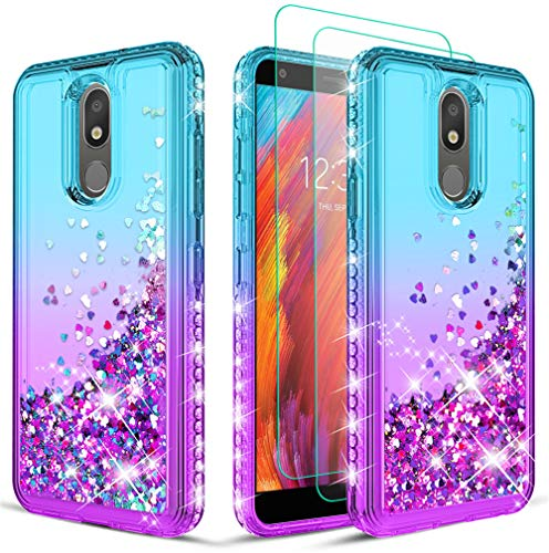 Wallme LG Escape Plus Case,LG Aristo 4 + Plus/Tribute Royal/Journey LTE/Neon Plus Phone Case w/ Screen Protector[2 Pack] for Girls Women -Teal/Purple