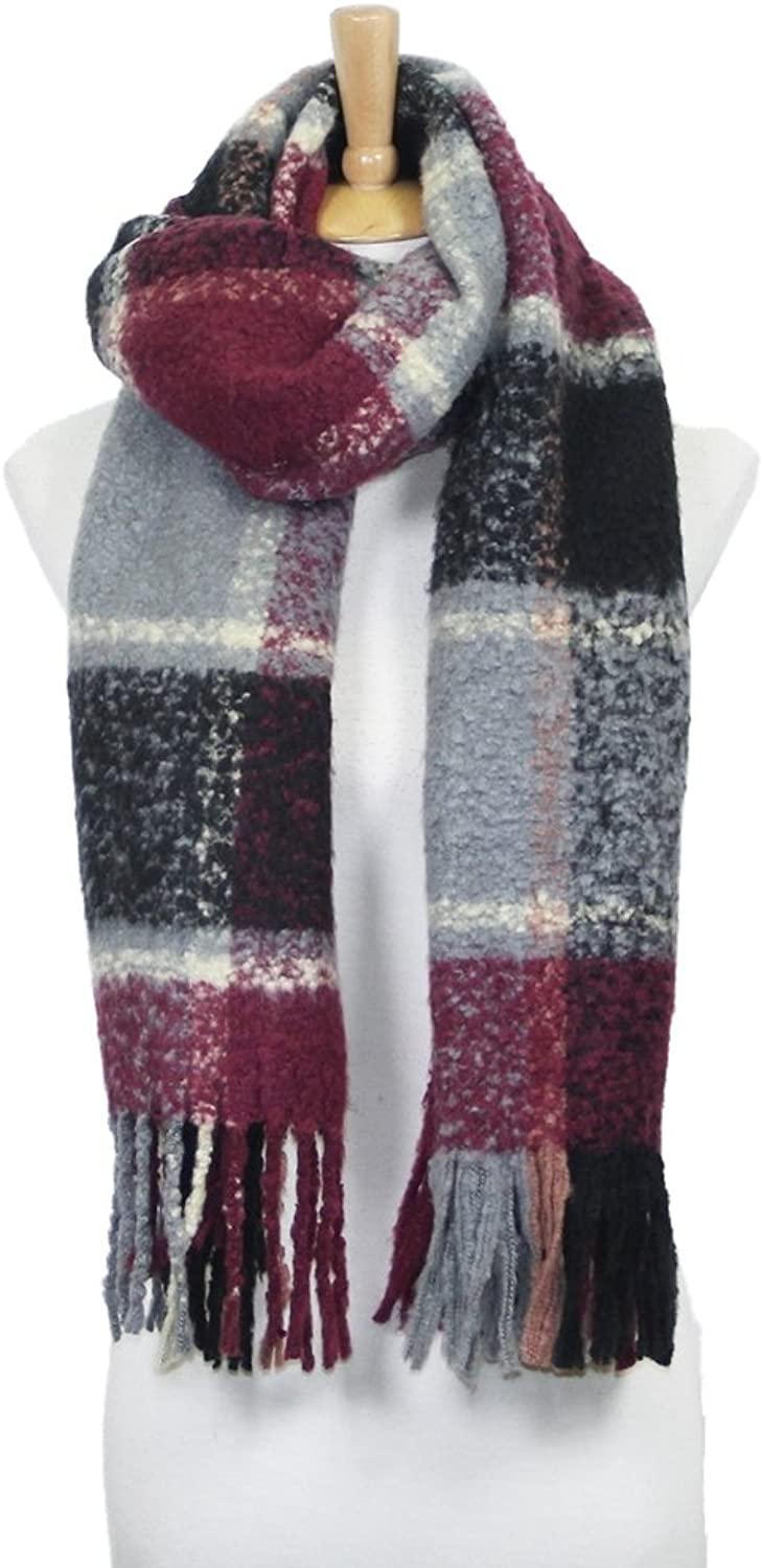 Women's Winter Warm Fuzzy Plaid Oblong Scarf
