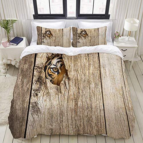 Funda nórdica, Safari Siberian Tiger Eye mirando a través de la mirilla de madera en Spy Predator Big Cat Wild Print, juego de ropa de cama Juegos de microfibra de lujo ultra cómodos y ligeros (3 piez