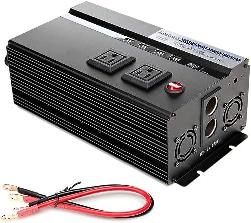 lowest Bowoshen 2000W Car Power Inverter 12V DC to 110V AC Latest Digital 2021 Display outlet sale Design with 2 AC Outlets & 4 USB Charging Ports 2018 Newest Design - 2 Year Warranty outlet sale