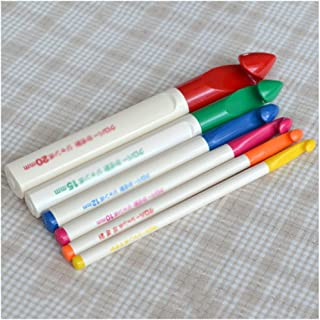 GFPR Crochet Crochet Set-Sizes 6/4mm, 7mm/8mm/10mm/12mm/15mm/20mm Crochets à Tricoter avec Poignée Multicolore en Plastique