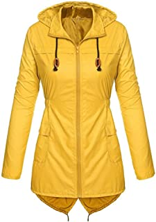 Women's Long Sleeved Solid Hooded Trench Coat Lightweight Raincoat Waterproof Active Outdoor Rain Jacket E-Scenery