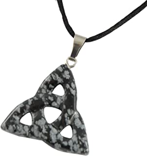 Power Pack Series - 30mm Triquetra Celtic Knot Snowflake Obsidian Black Gray - 20-22 Inch Adjustable Black Cord – Crystal Gemstone Collectibles Carved Necklace Handmade Charm