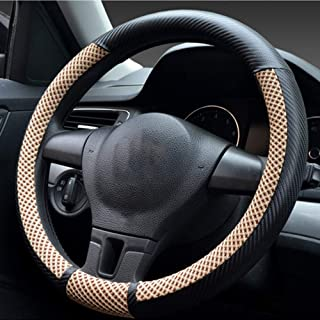 Anti Slip Car Ateering wheel cover, Universal Carbon Fiber PU Leather Steering wheel covers, 36-40cm / Breathable, Wear-re...