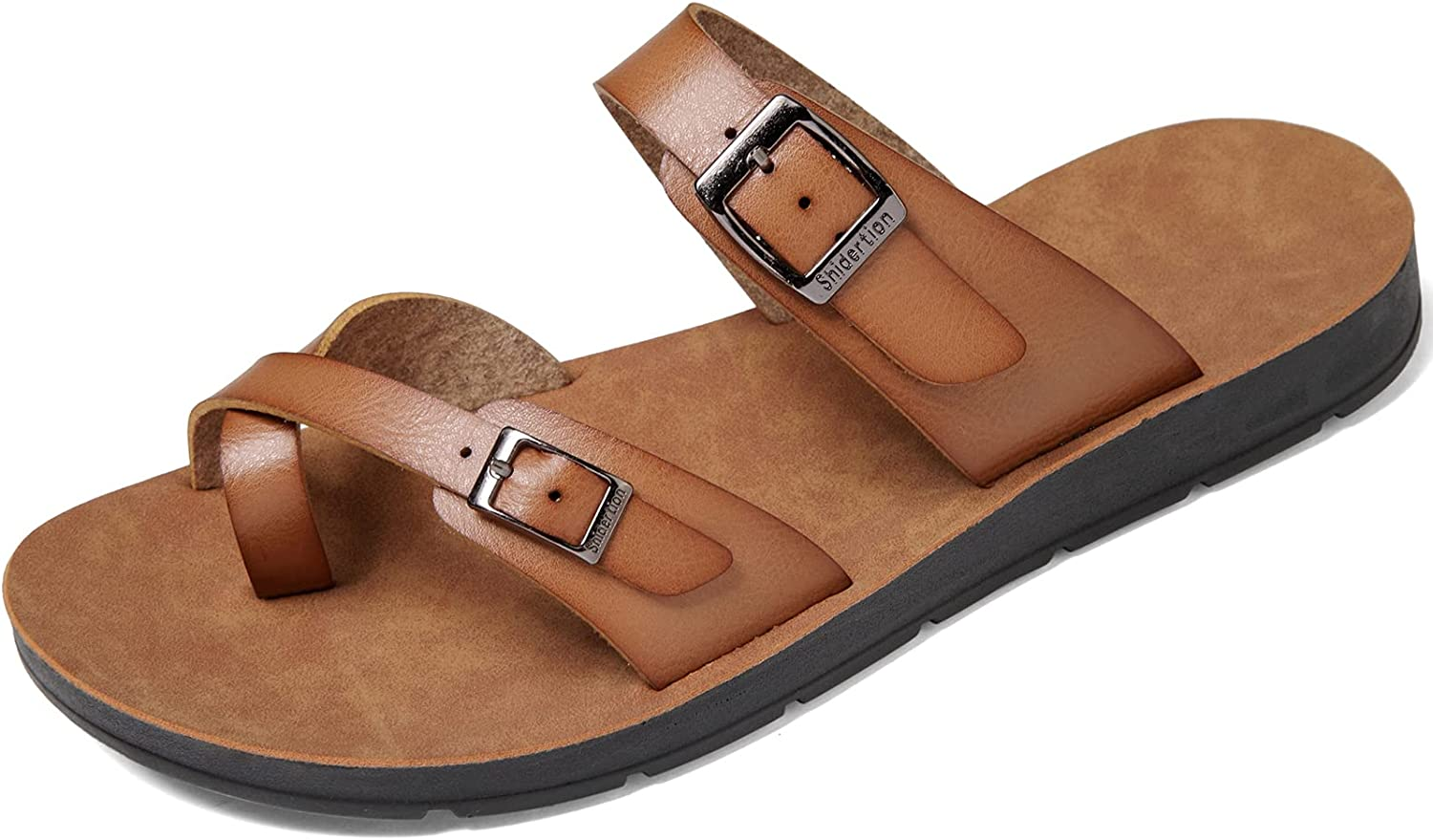Womens Sandals with Adjustable Double Buckle Strap Casual Comfort Footbed Slides Sandals for Indoor and Outdoor Beach