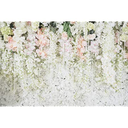 Wedding Backdrop 7x5ft Floral Wall Polyester Photography Background Blossom Pink White Rose Flowers Green Plants Ceremony Banquet Birthday Party Decor Photo Prop Poster Wallpaper Customizable