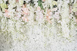 Muzi 7x5ft White Flower Backdrop Thin Vinyl Bridal Shower Wedding Floral Wall Photography Backdrops Birthday Party Photo Banner for Props Photocall MZ-1027