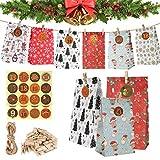 Calendario De Adviento, Bolsa De Regalo Navidad, 24Pcs Calendario De Adviento DIY Calendario Adviento para Navidad para Rellenar, Bolsas Calendario Adviento con 24 Pegatinas De Adviento,para Navideña